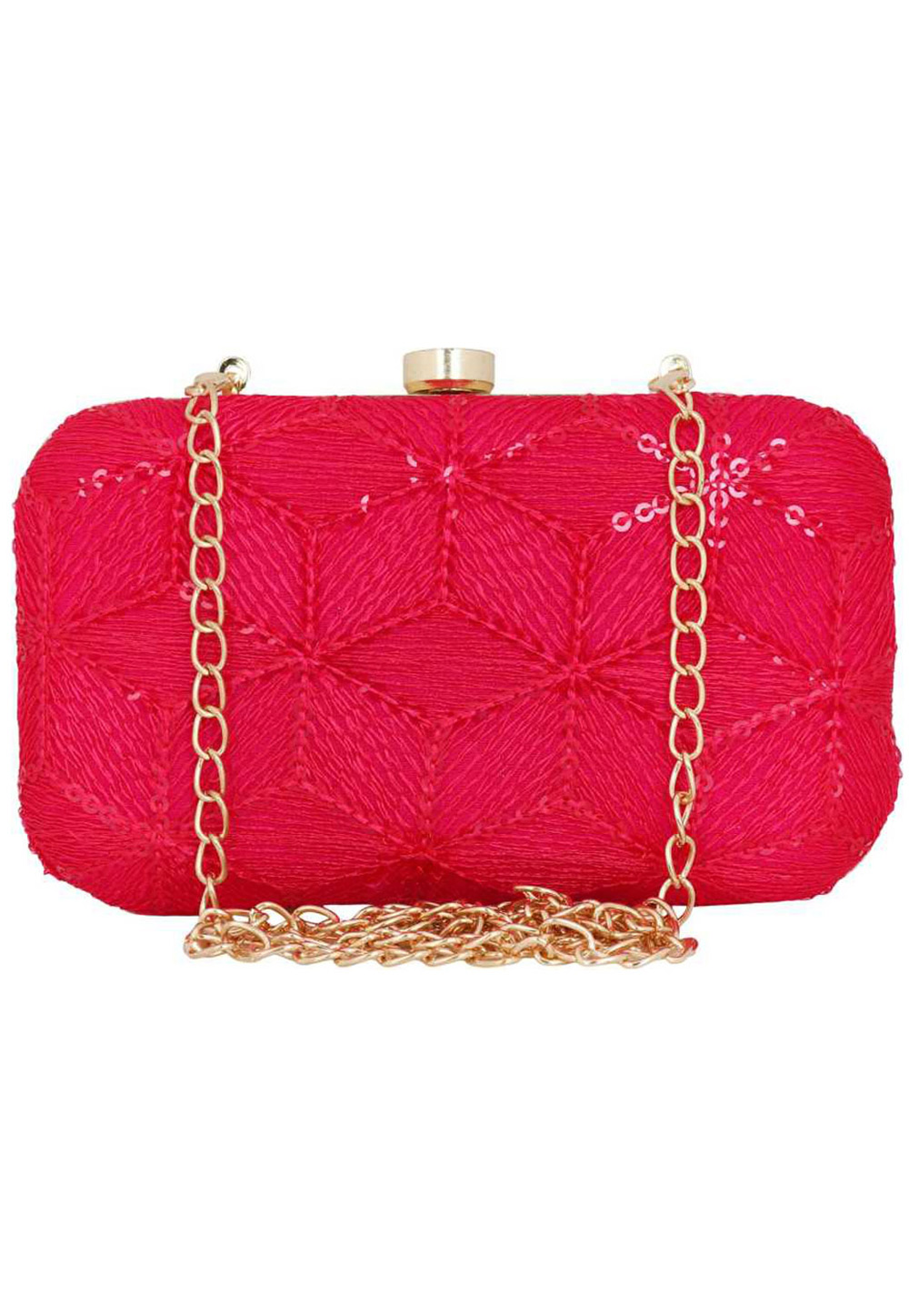 Pink Synthetic Embroidered Clutch 225803