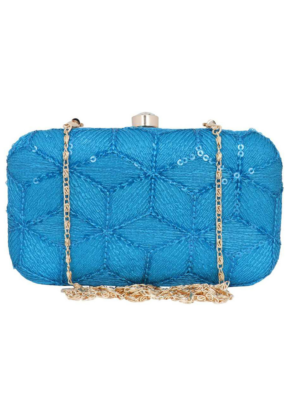Sky Blue Synthetic Embroidered Clutch 225804