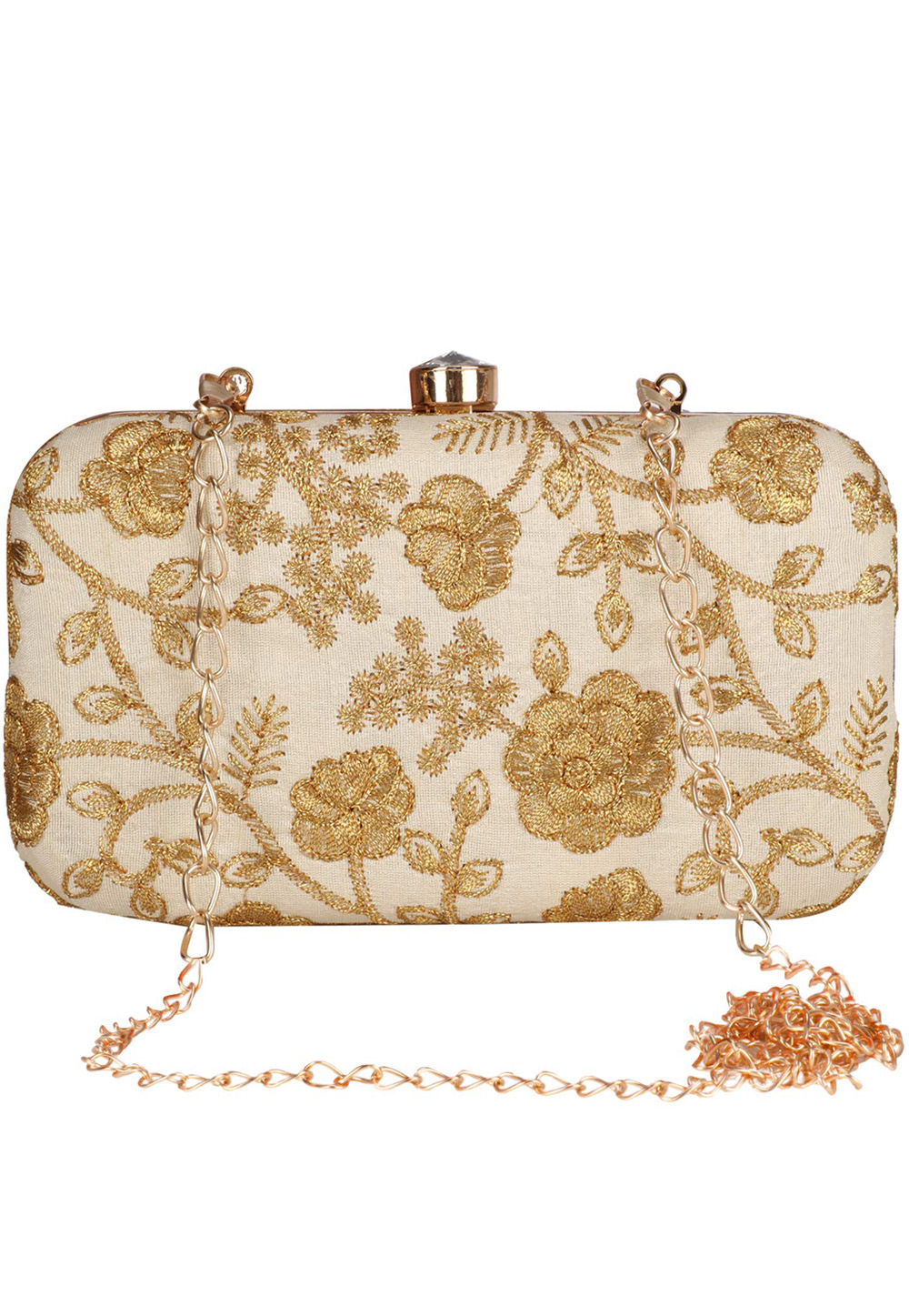 Beige Synthetic Embroidered Clutch 225805