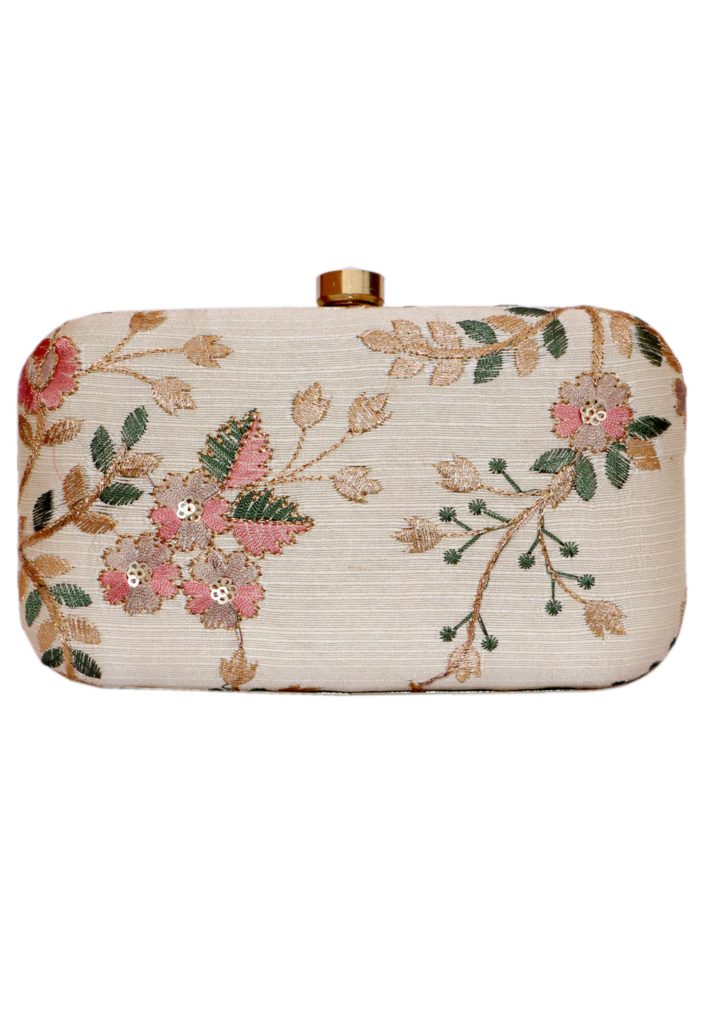 Beige Synthetic Embroidered Clutch 225806