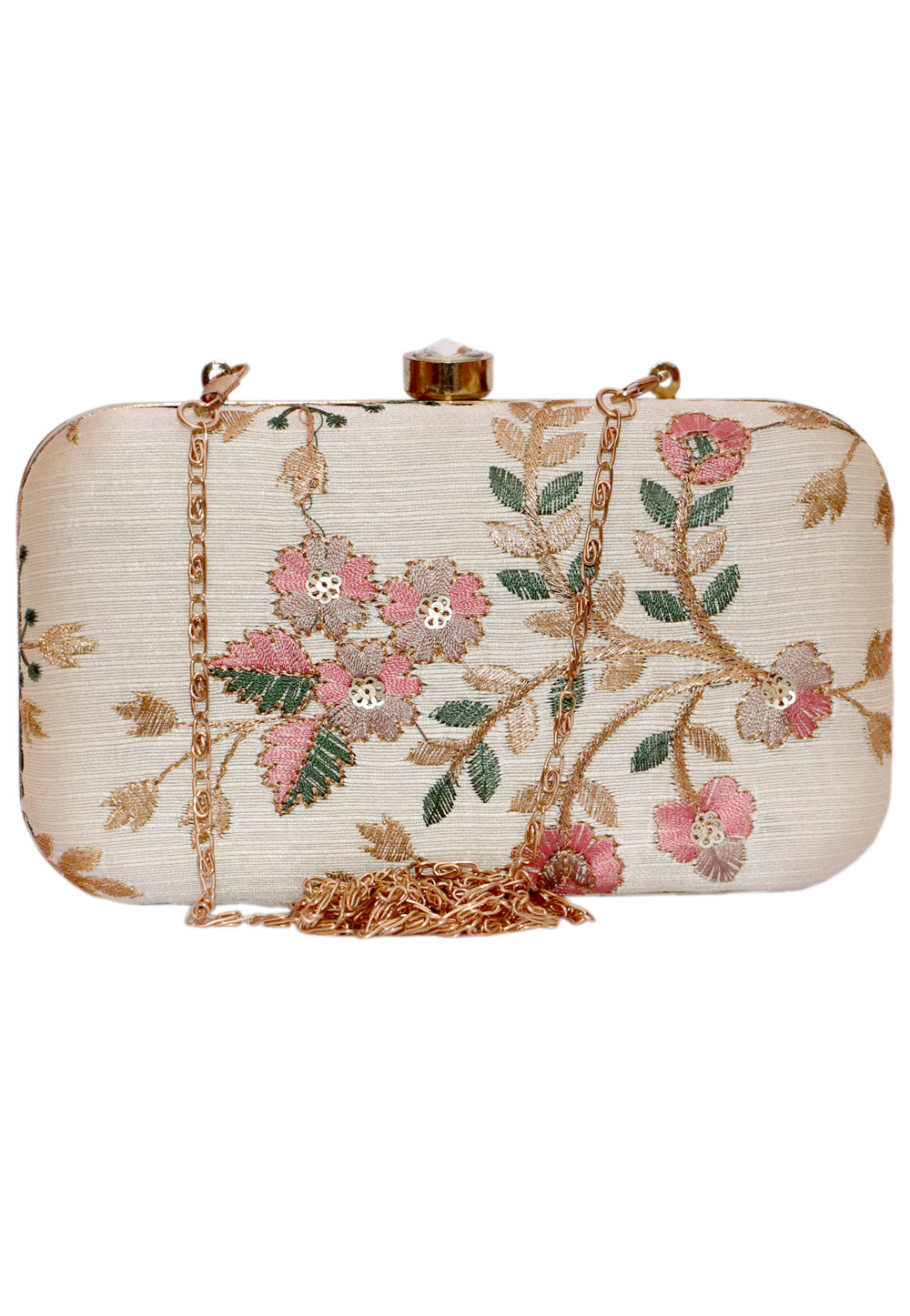 Beige Synthetic Embroidered Clutch 225807