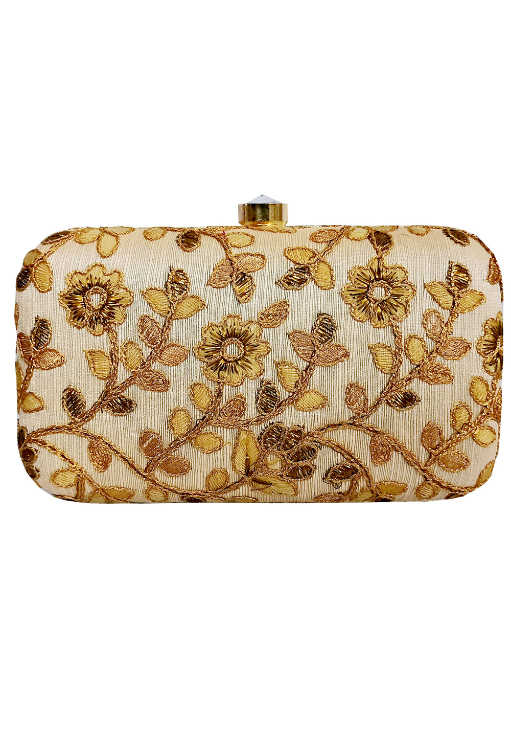 Golden Synthetic Embroidered Clutch 225808