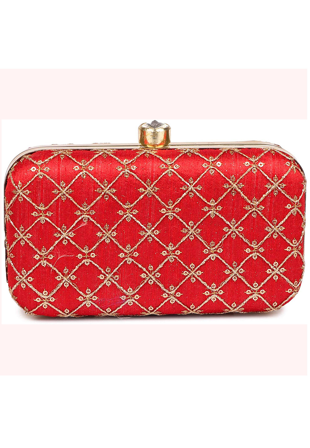 Red Synthetic Embroidered Clutch 225809