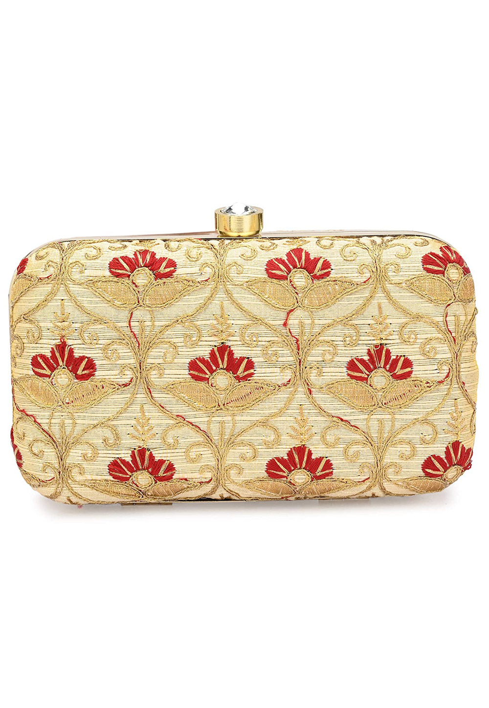 Golden Synthetic Embroidered Clutch 225810