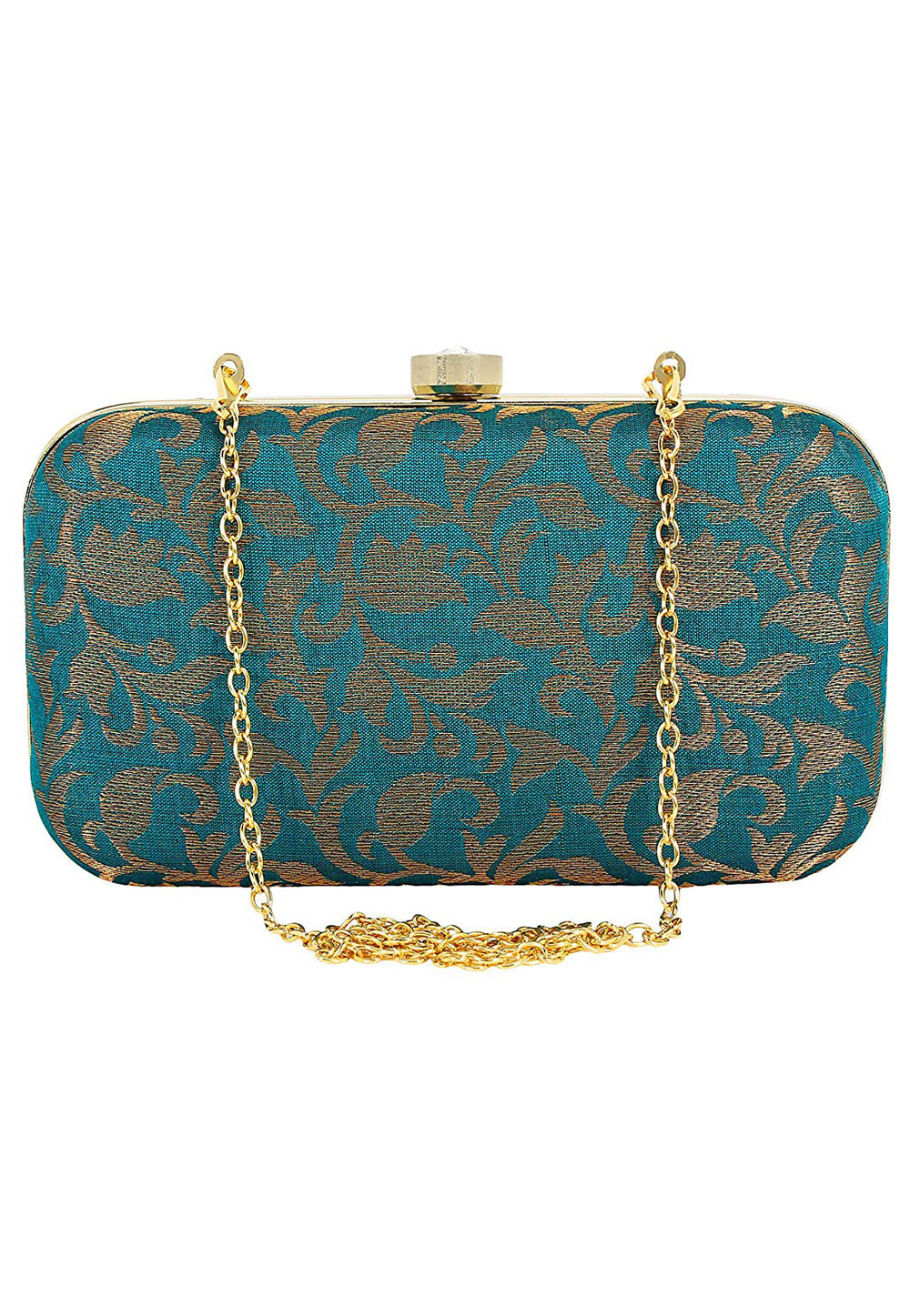 Teal Synthetic Embroidered Clutch 225811
