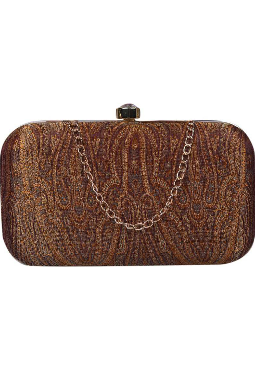Brown Synthetic Embroidered Clutch 225812