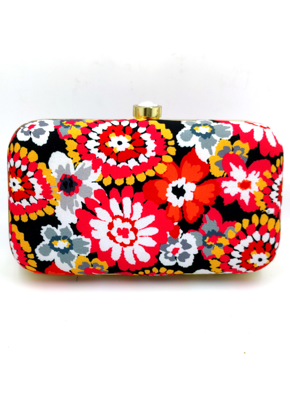 Black Synthetic Embroidered Clutch 225813