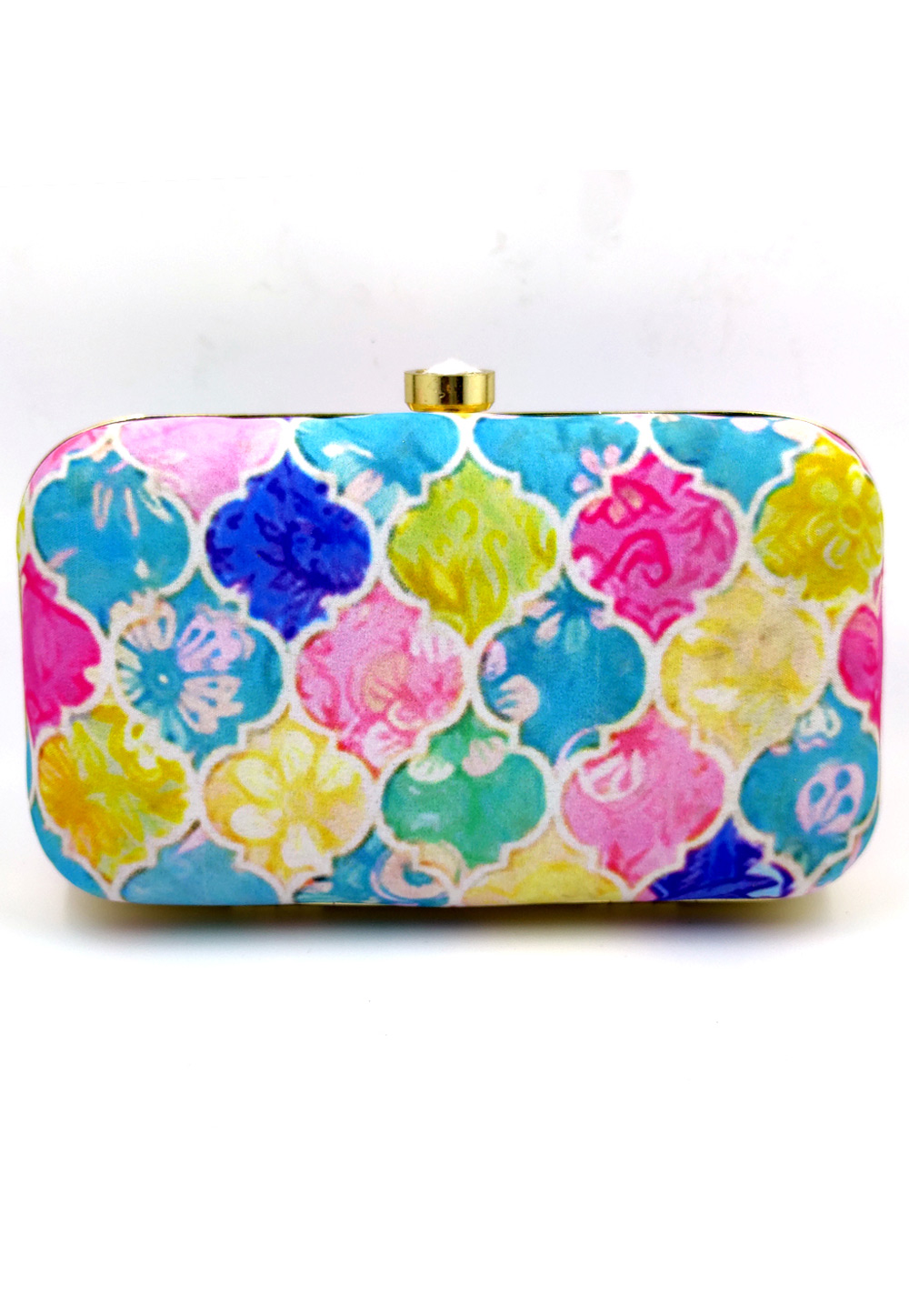 Sky Blue Synthetic Embroidered Clutch 225814