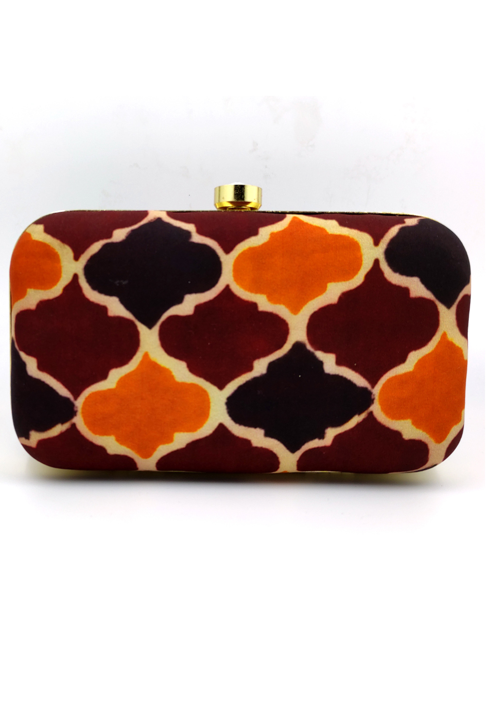 Brown Synthetic Embroidered Clutch 225815