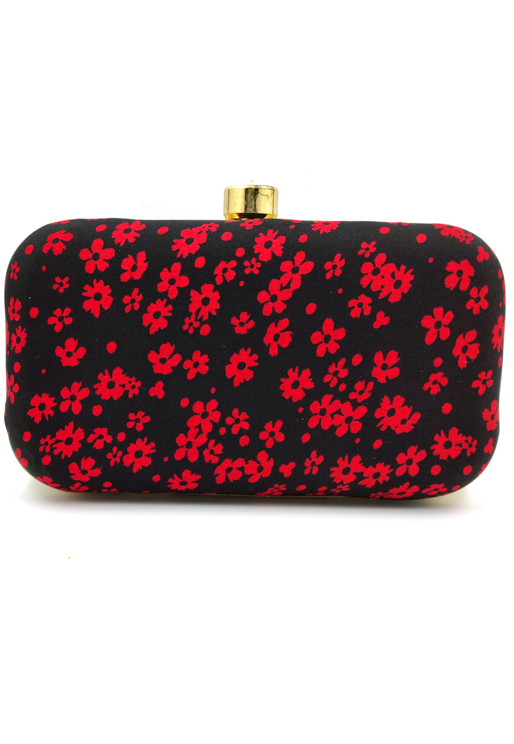 Black Synthetic Embroidered Clutch 225816