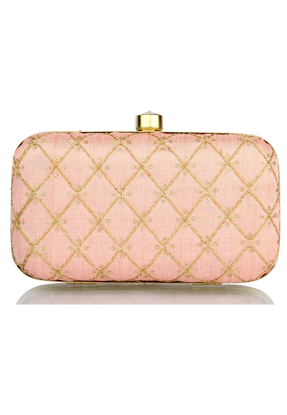 Peach Synthetic Embroidered Clutch 225817