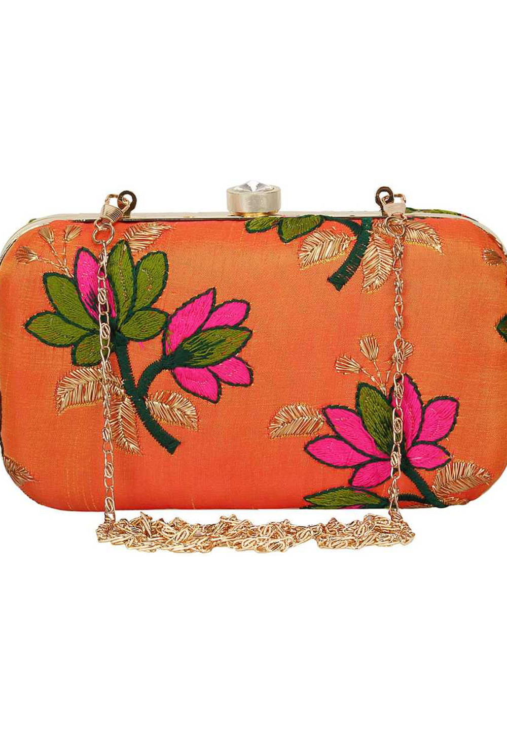 Orange Synthetic Embroidered Clutch 225818