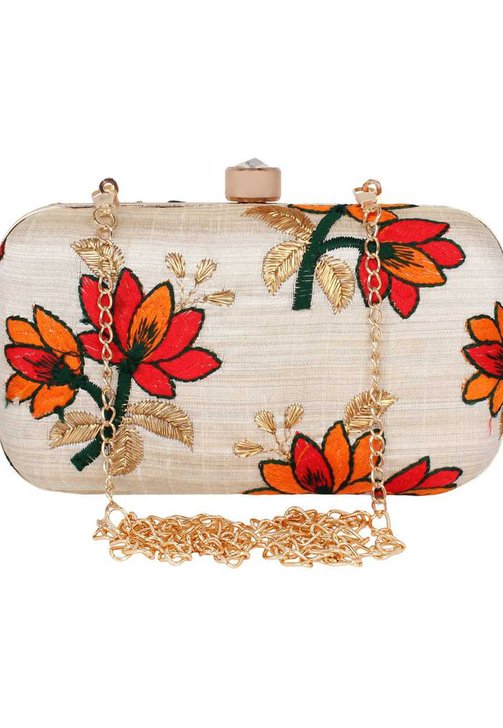 Beige Synthetic Embroidered Clutch 225819