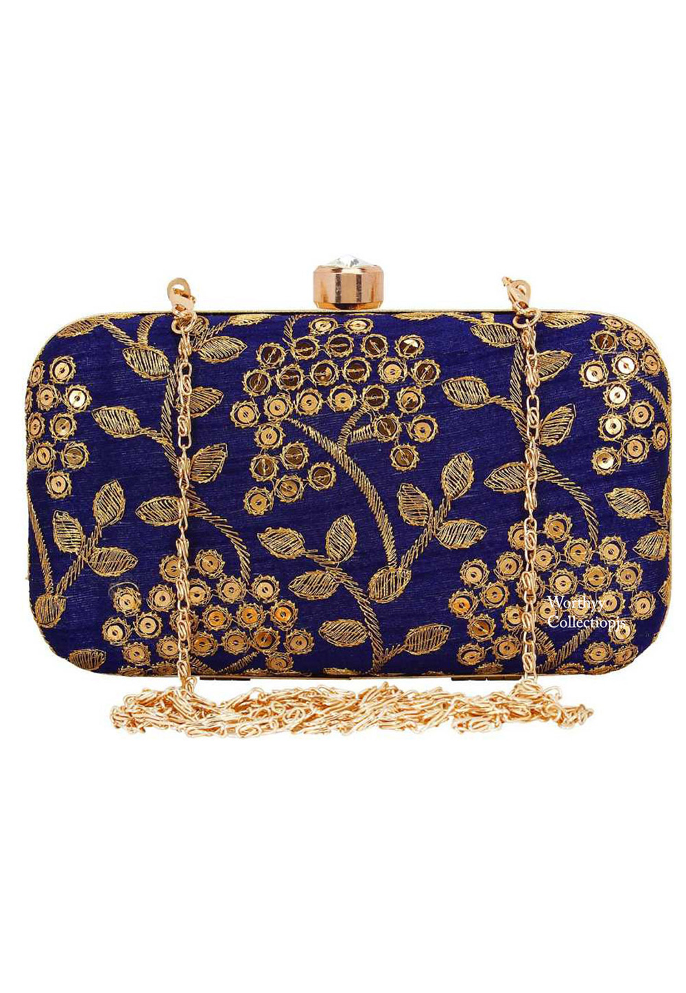 Blue Synthetic Embroidered Clutch 225821