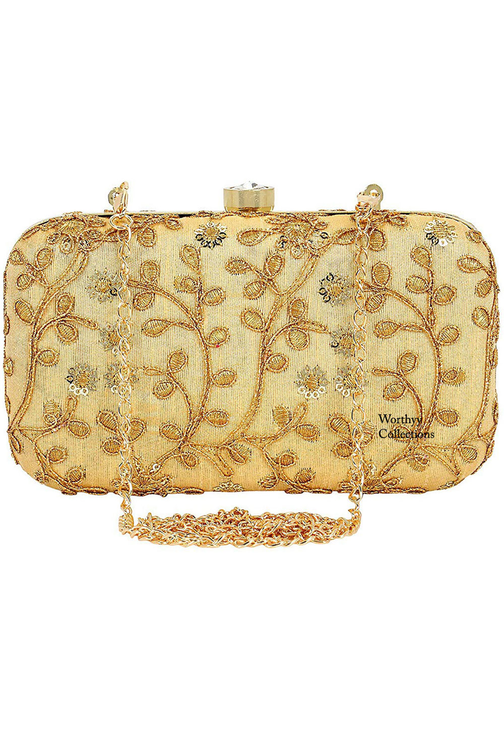 Golden Synthetic Embroidered Clutch 225822
