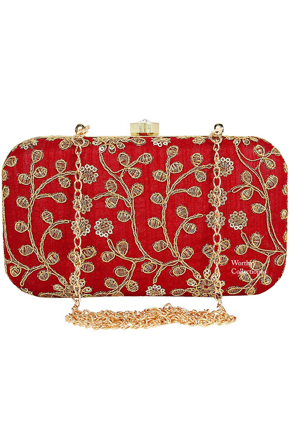 Red Synthetic Embroidered Clutch 225823