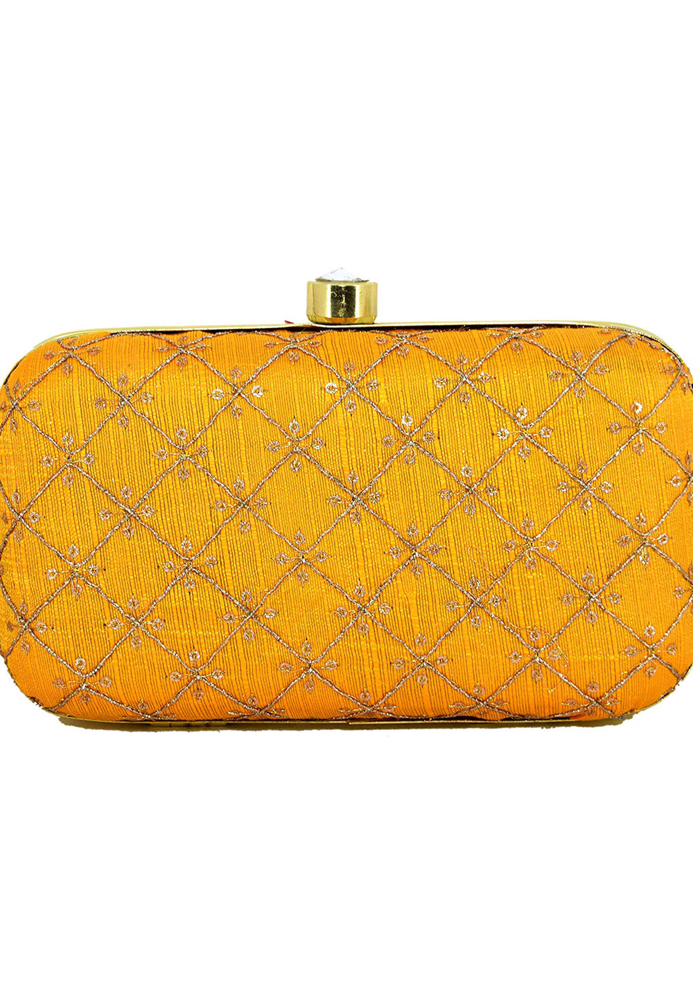 Yellow Synthetic Embroidered Clutch 225824