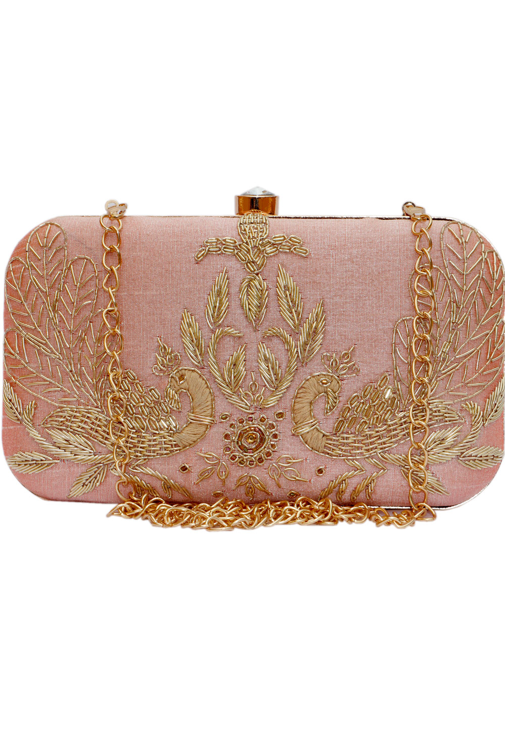Peach Synthetic Embroidered Clutch 225825
