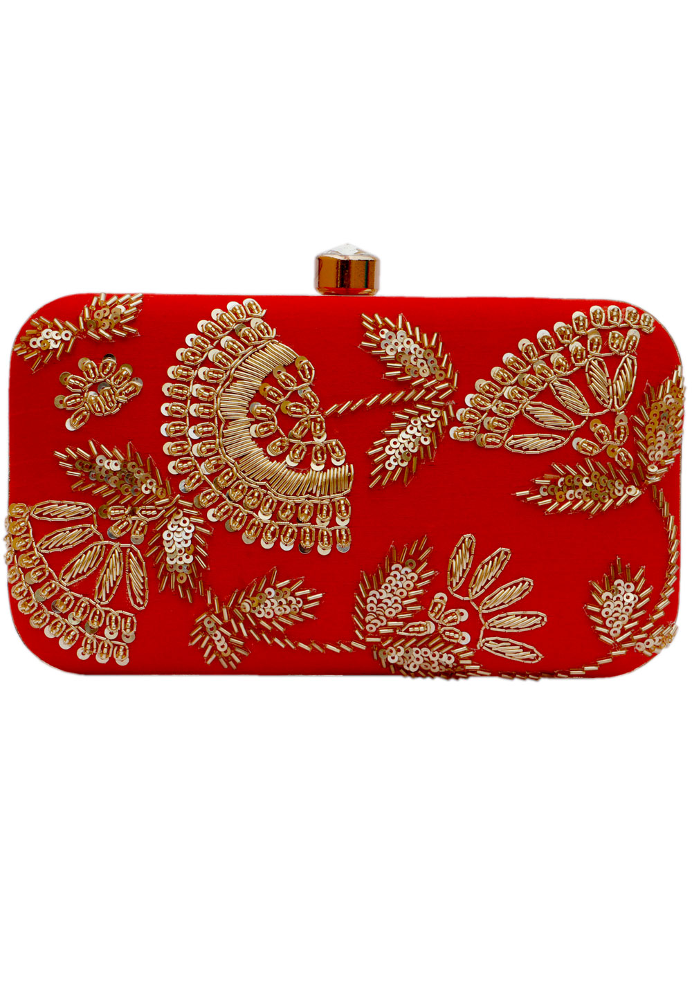 Red Synthetic Embroidered Clutch 225826
