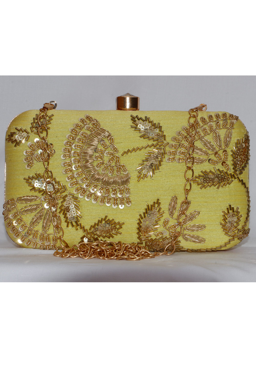Green Synthetic Embroidered Clutch 225827