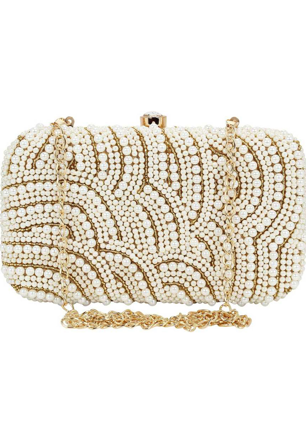 Off White Synthetic Embroidered Clutch 225828