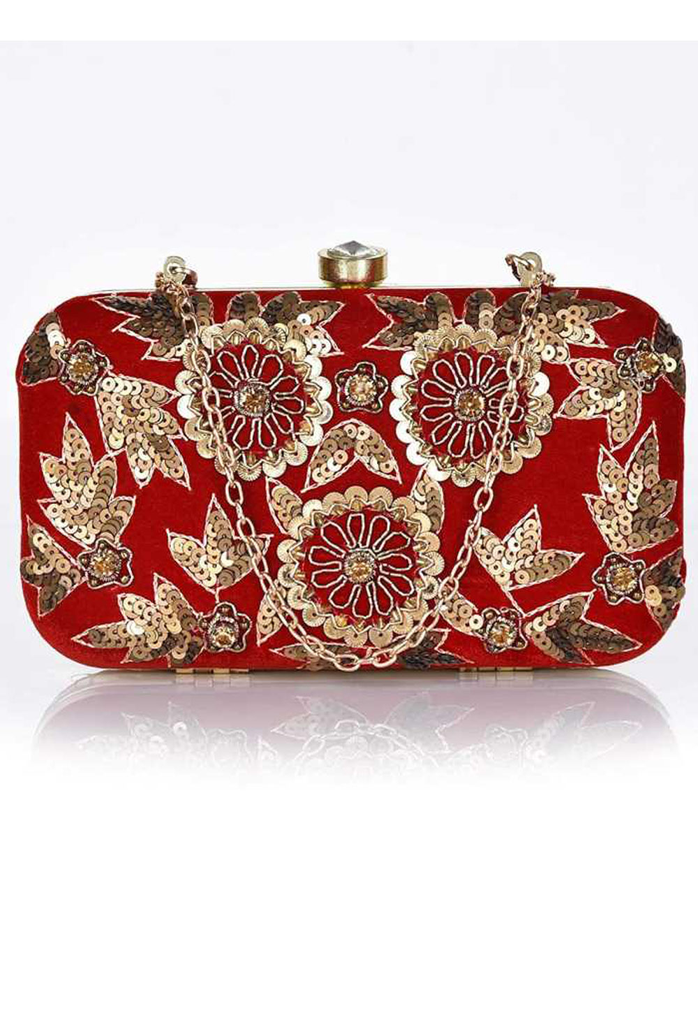 Red Synthetic Embroidered Clutch 225829
