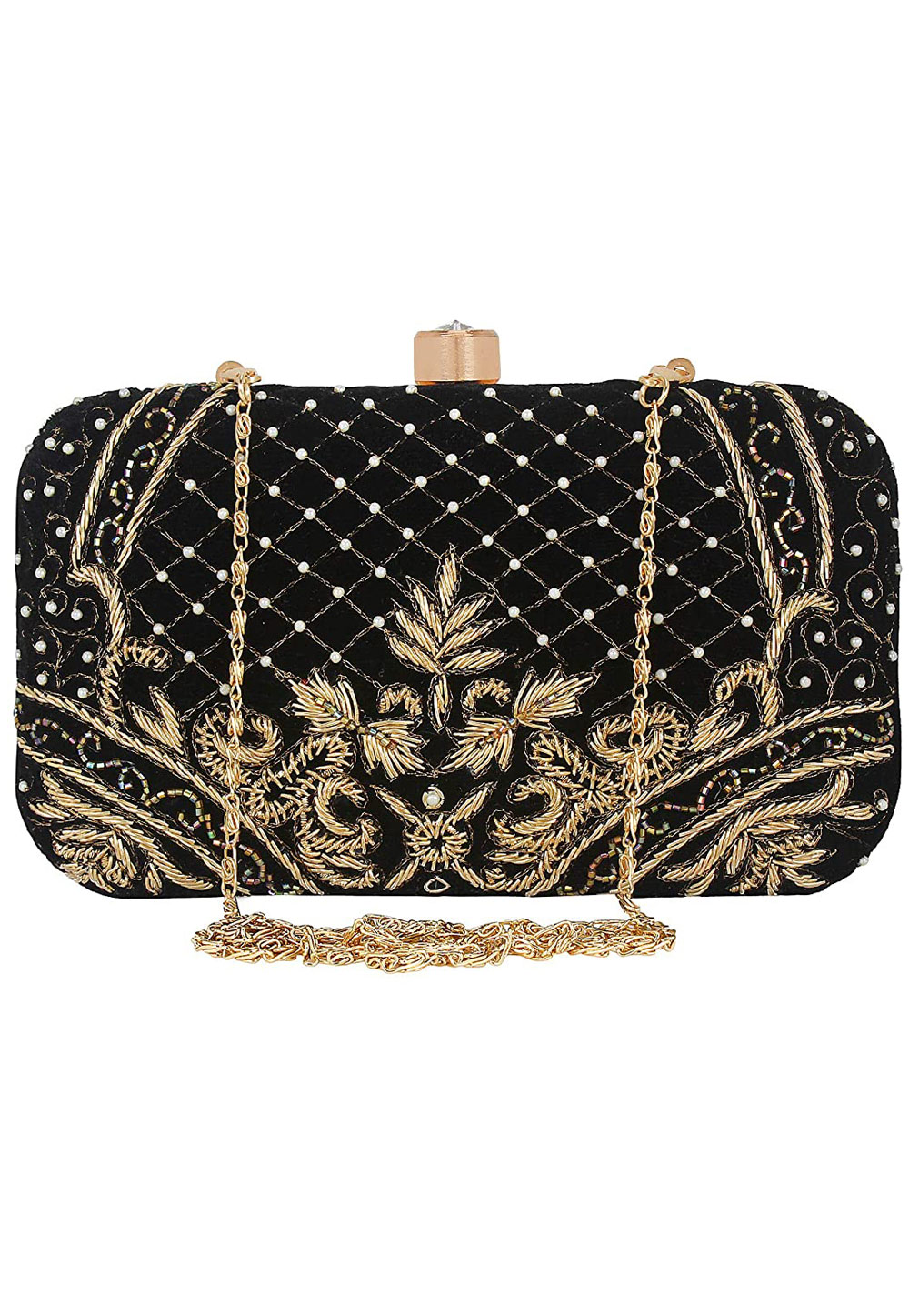 Black Synthetic Embroidered Clutch 225830