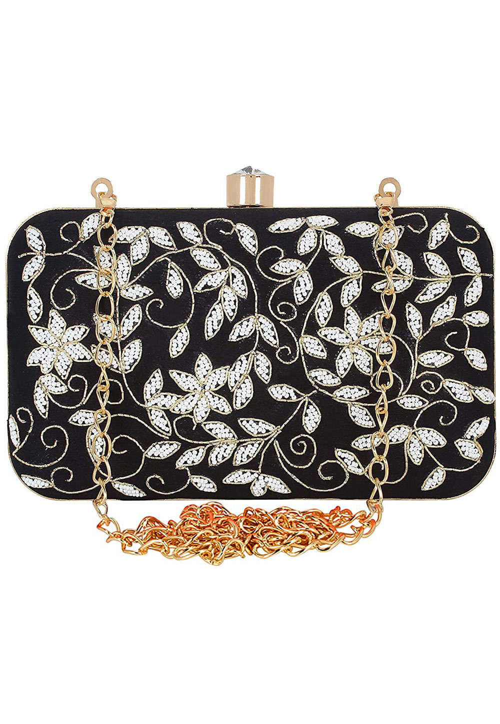 Black Synthetic Embroidered Clutch 225831
