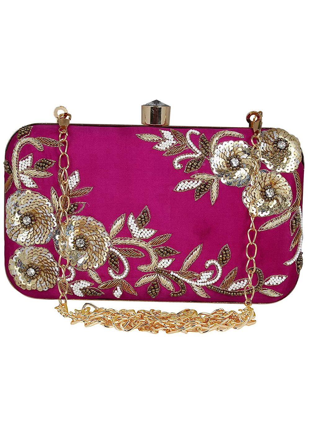 Magenta Synthetic Embroidered Clutch 225833