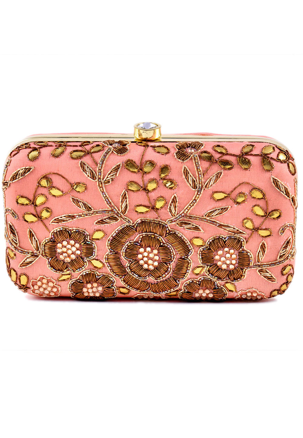 Peach Synthetic Embroidered Clutch 225834