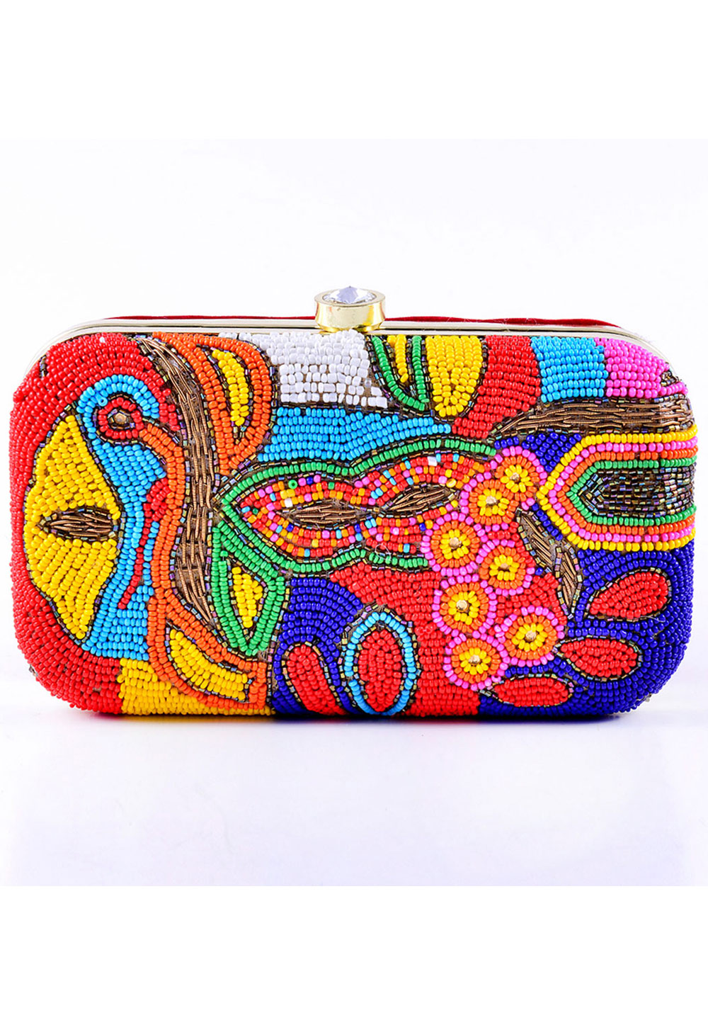 Blue Synthetic Embroidered Clutch 225835
