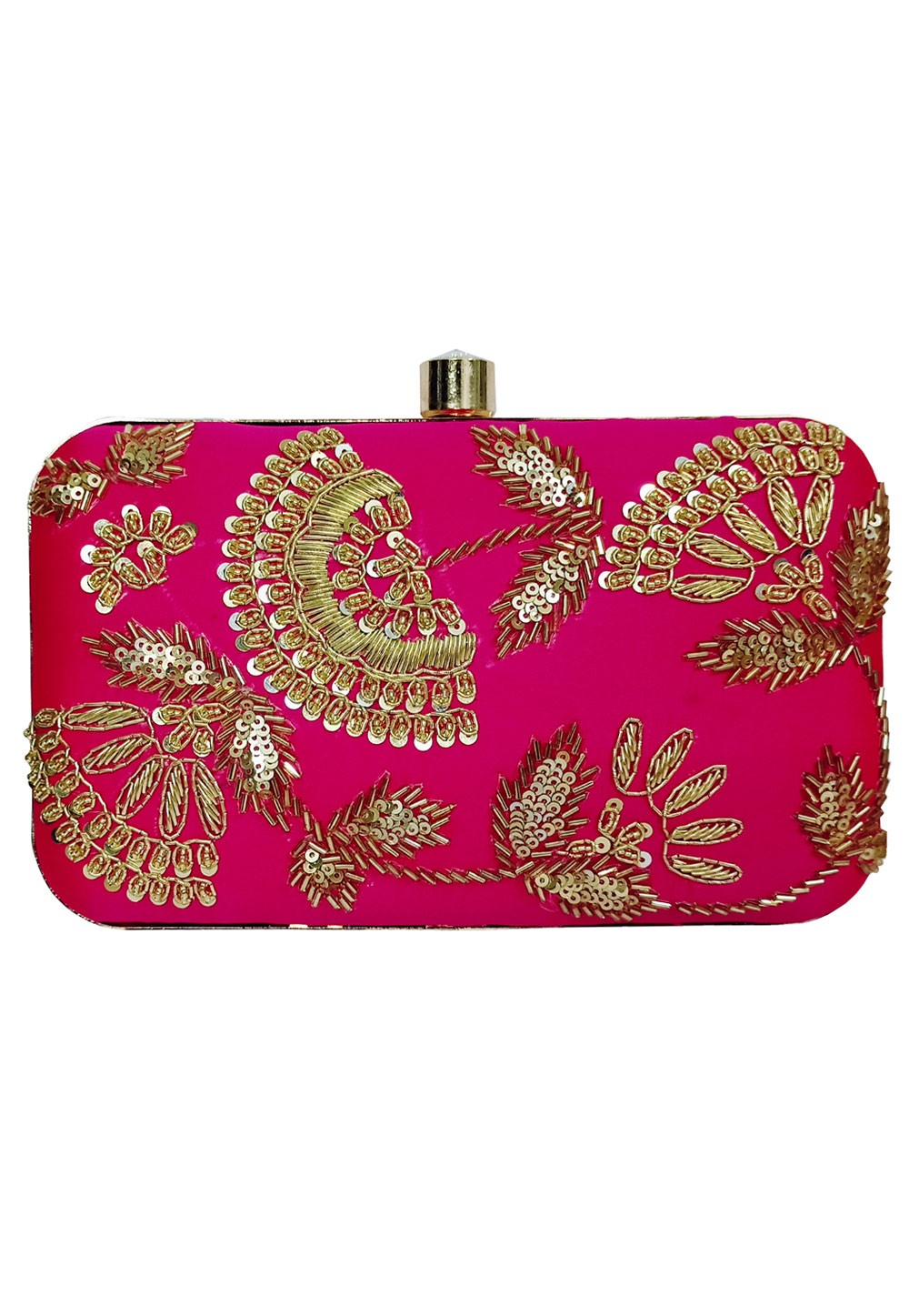 Pink Synthetic Embroidered Clutch 225836
