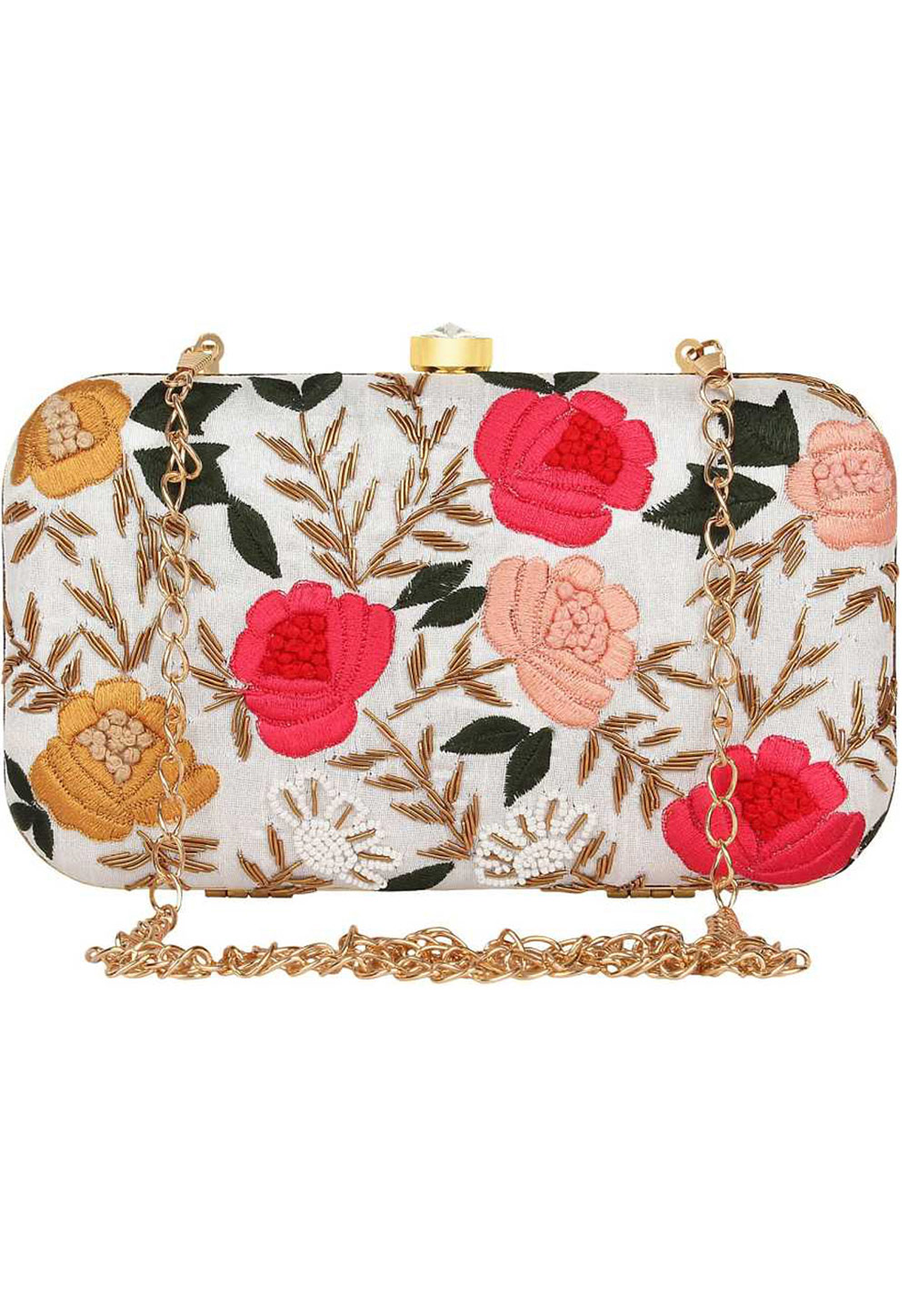 Off White Synthetic Embroidered Clutch 225837