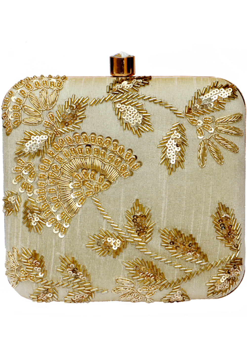 Beige Synthetic Embroidered Clutch 225838