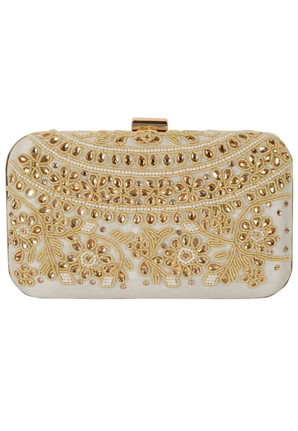Off White Synthetic Embroidered Clutch 225839