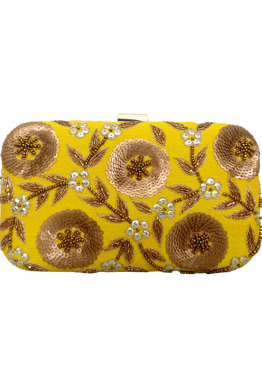 Yellow Synthetic Embroidered Clutch 225840