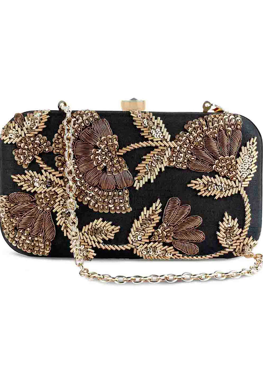 Black Synthetic Embroidered Clutch 225841