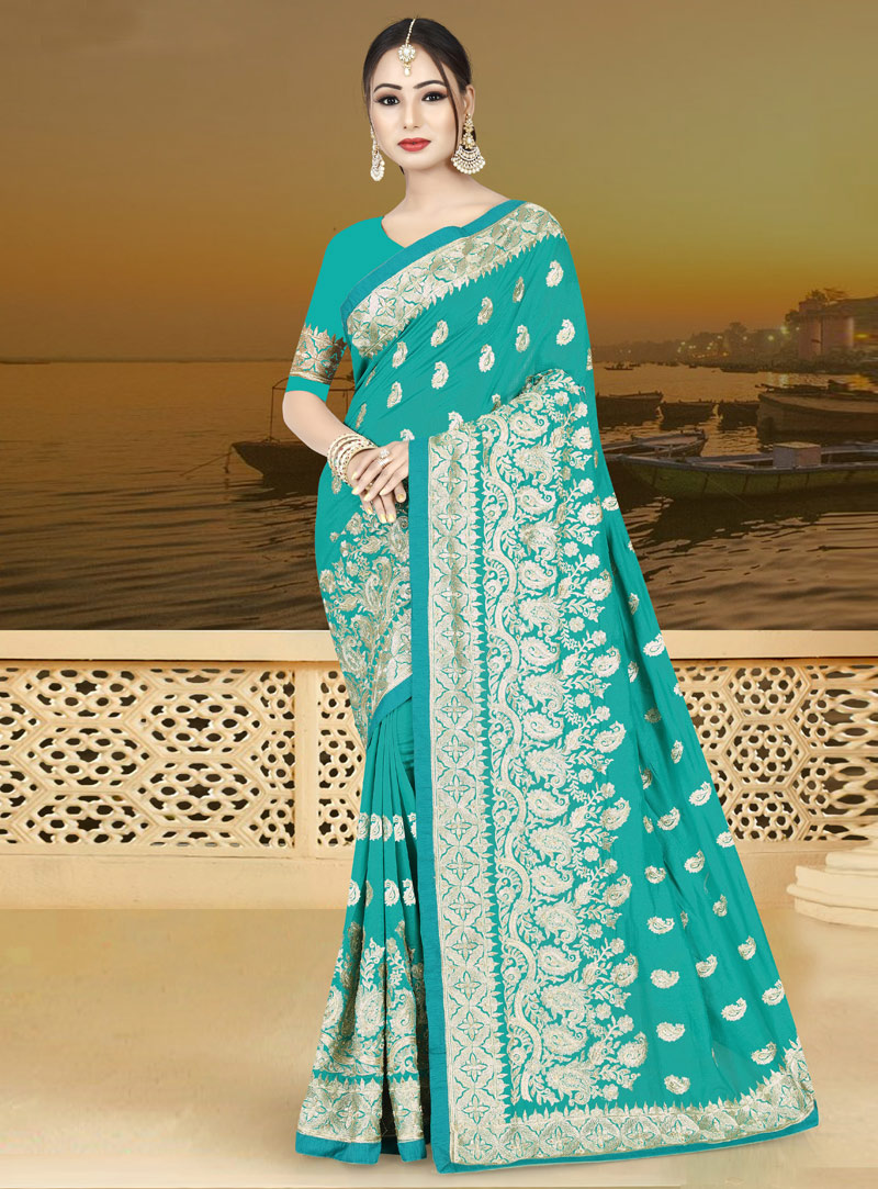 Cyan Silk Saree With Blouse 146796
