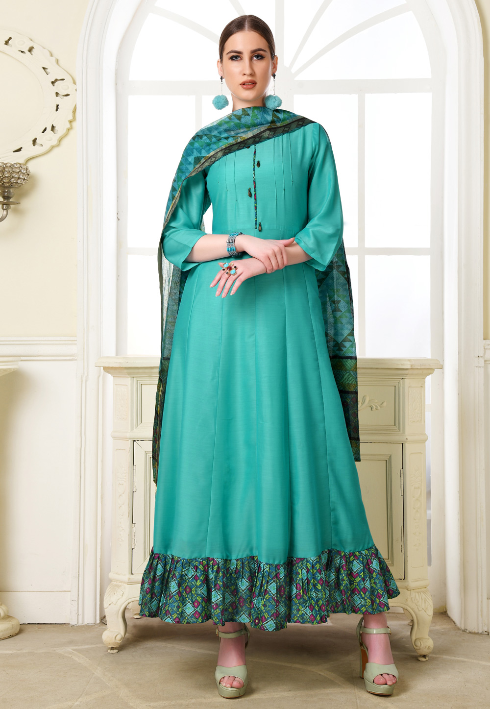 Turquoise Muslin Readymade Gown 209266