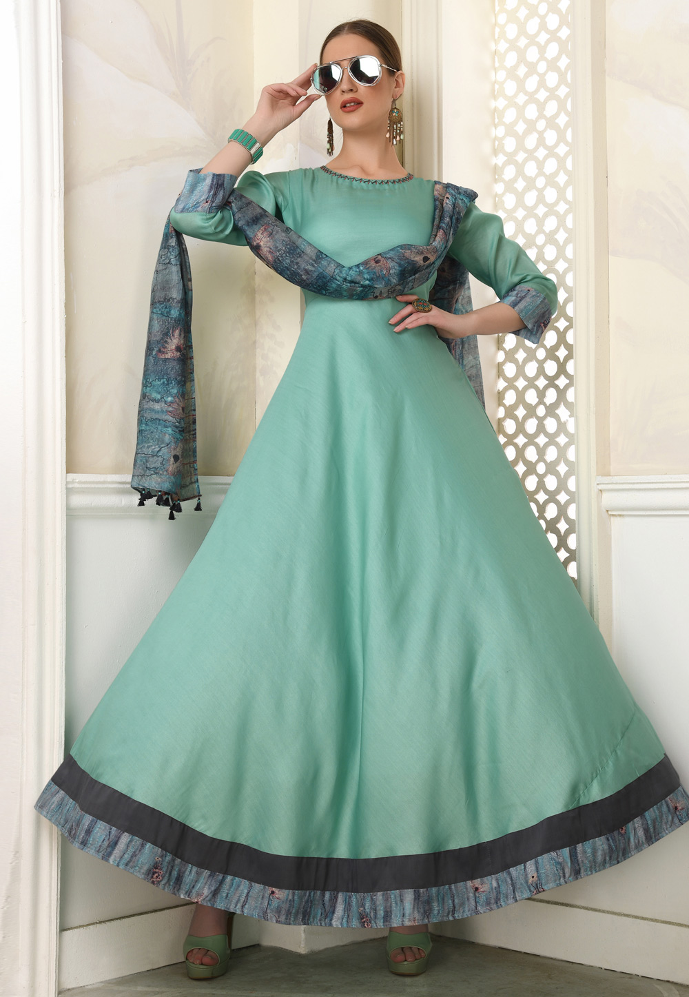Sea Green Muslin Readymade Gown 209268