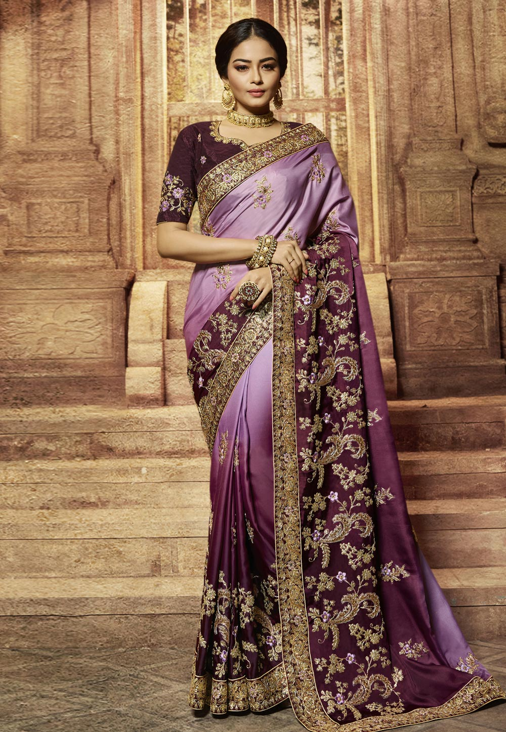 Purple Barfi Silk Saree With Blouse 192695