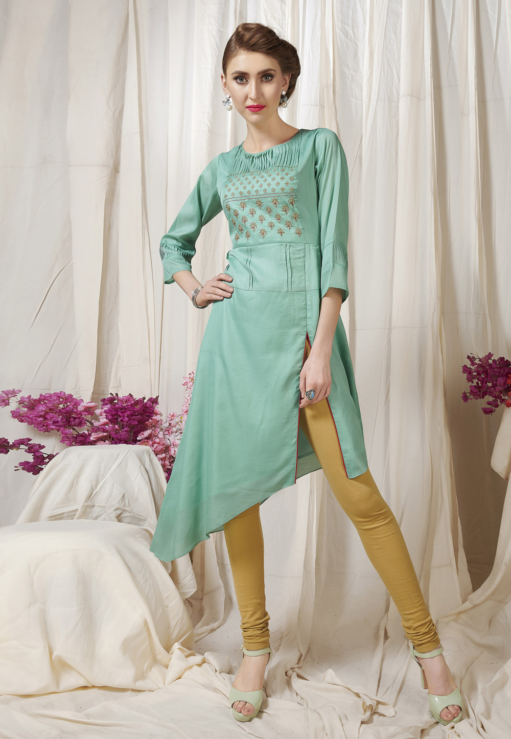 Sea Green Muslin Readymade Tunic 209495