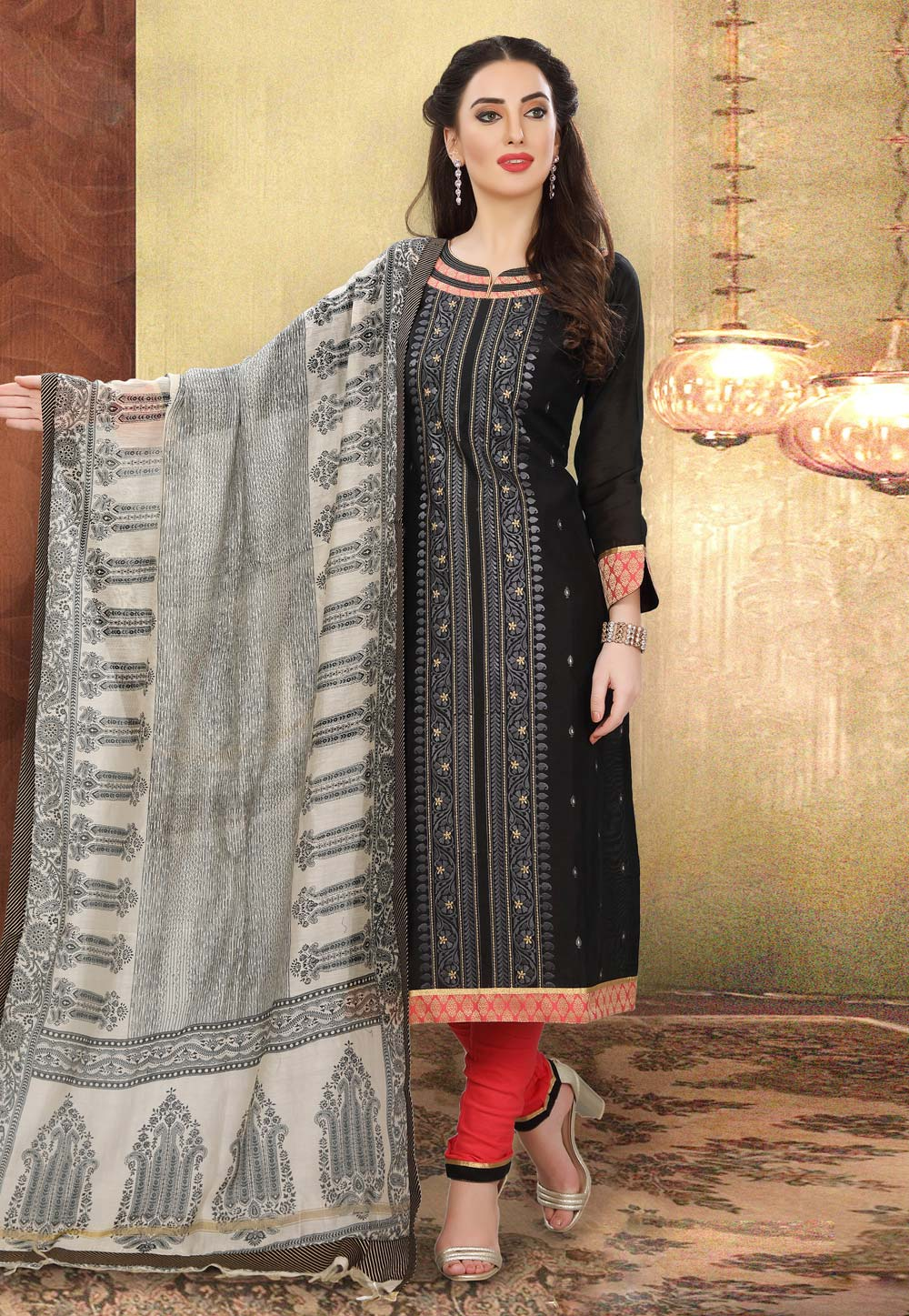 Black Chanderi Churidar Suit 192982