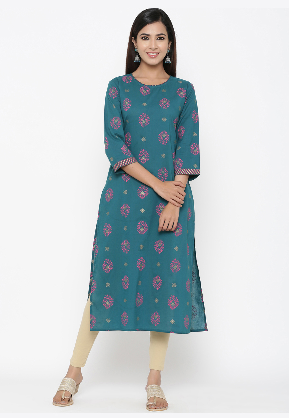 Blue Cotton Readymade Printed Kurti 209651