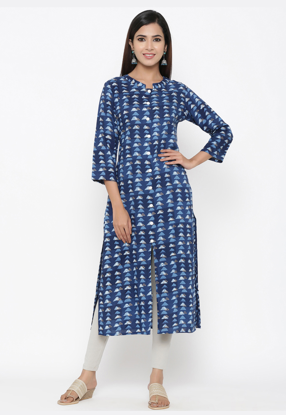 Blue Viscose Readymade Printed Tunic 209654