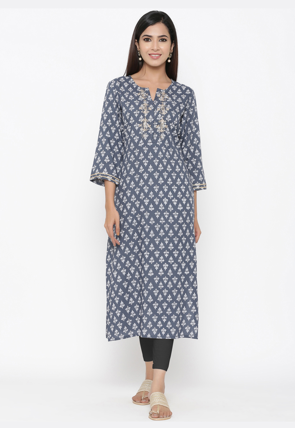 Grey Viscose Readymade Printed Tunic 209656