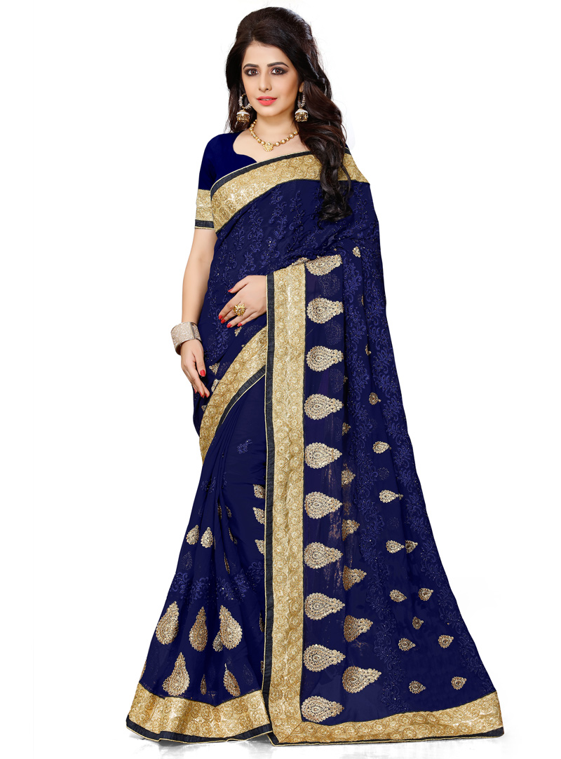 Navy Blue Georgette Patch Lace Work Saree 119193
