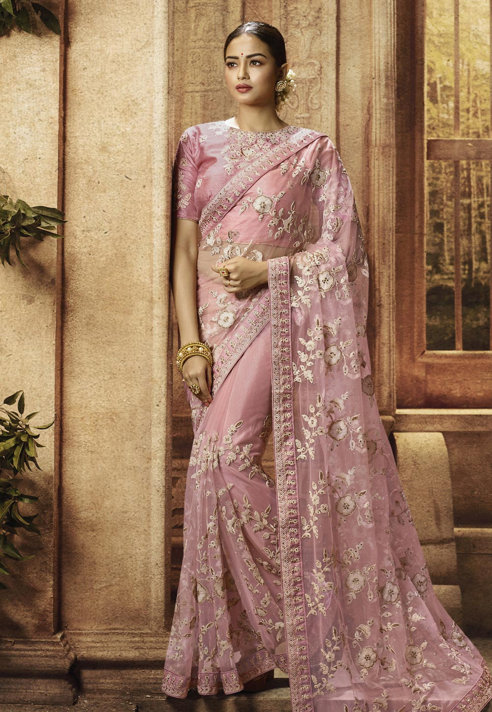 Pink Net Embroidered Saree With Blouse 195781