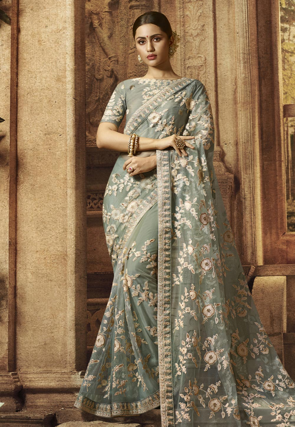 Grey Net Embroidered Festival Wear Saree 195782