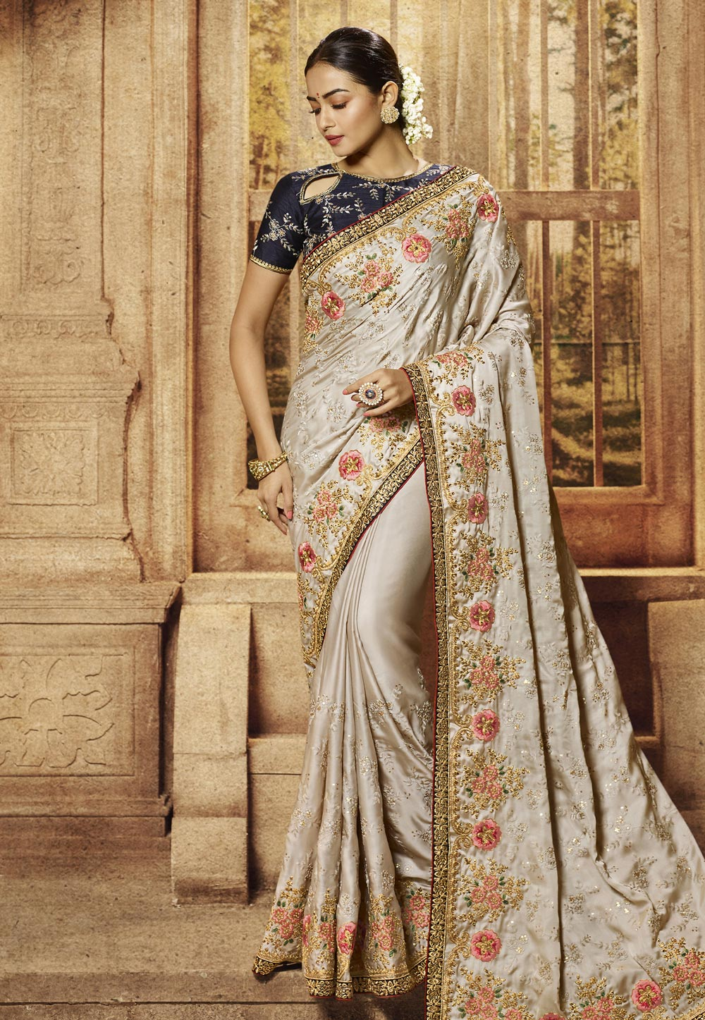 Grey Satin Embroidered Party Wear Saree 195783